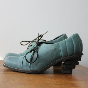 Vintage Eject Leather Turquoise Shoes